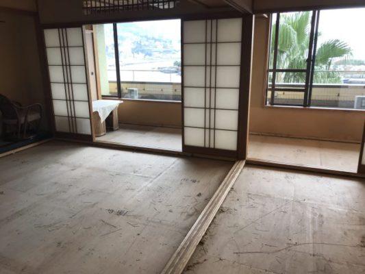 ランハート株式会社・年末・旅館・現場作業・表替・秀花園・熱海港